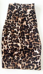 A leopard print skirt folded in half