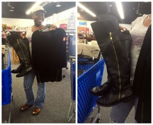 A collage of two pictures: the one on the left is of an African American woman in a white shirt, jeans, and a white cap holding a pair Christian Siriano black boots with a gold zipper and matching black zipper top. The picture on the right is a close up of the boots