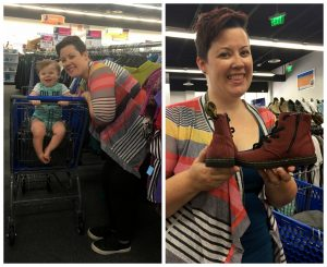 A collage of two pictures: the one on the left is of a woman with her baby. The baby is in a blue shopping cart and they are standing in an isle of the Centreville VA Goodwill location. The picture on the right is of the same woman holding a pair of red canvas baby Doc Maartans