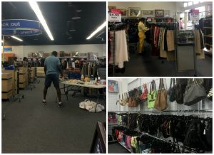 A collage of three pictures. The larger one on the left is of the front section of the Centreville VA Goodwill retail store. It shows the check out registers, an African American man in dark blue shorts and a light blue t-shirt standing with his back to the camera, a rack on the far all with various merchandise, and a fold up table with merchandise on it. The picture on the top right is of a woman shopping in racks of clothing at the same Goodwill store. And the picture on the bottom right is of purses hanging on wall racks at the same Goodwill location