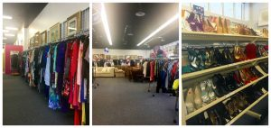 A collage of three pictures: the one of the left is of a rack of clothing, the middle picture shows two round racks of clothing and some furniture and posters and paintings in the background, and the picture on the right is of a rack of shoes. All three of the pictures were taken at the Goodwill of Greater Washington Sully Station location before the grand opening