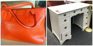 A collage of two pictures: the picture on the left is of an orange Kate Spade purse and the picture on the right is of a vintage, white, desk