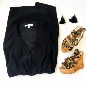 A picture of three items, black, silk, tuxedo-style dress by Elizabeth & James, animal print wedges by Tallulah Blu, and dangle tassel black earrings