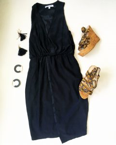 A picture of four items, black, silk, tuxedo-style dress by Elizabeth & James, animal print wedges by Tallulah Blu, dangle tassel black earrings, and black and gold half circle earrings