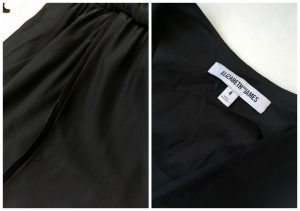 A collage of two pictures: the one on the left is a close up of the black, silk, tuxedo-style dress by Elizabeth & James and the one on the right is the tag of the same dress.