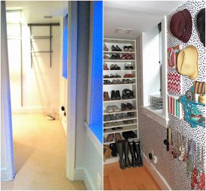 Two pictures right next to eachother. They are both of the same doorless walkin closet. The one on the left is a before picture in which the closet is empty and wall to wall carpeting. The picture on the right is of the same closet except refurbished with wood flooring, a black and white polka dotted wallpaper, and now it has items like hats on the wall, shoes on the shelves, and necklaces and other accessories on the wall.