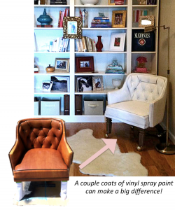 A picture of a chair that has been transformed. It originally has a worn and faded leather finish but has been transformed into a white chair through the use of vinyl. The white chair has been set up in a room with a bookshelf in the background, wooden floors, and a rug