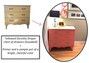 A before and after diagram of a dresser that has been transformed from a plain color to a bright pink with a white top. The after picture is framed in an oval frame and there is a short description of how it has been transformed. The final product is set up in a room with a couple of items including a lamp on top of it.