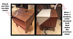 A before and after picture of a wooden end table. The picture on the left is of the before in which it has stains on it. The after picture on the right shows it has been painted with a white section to cover the stain in an artistic way. There are pink arrows pointing toward the margin of the picture in which descriptions are made of how to DIY this table.
