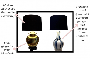 A picture of two lamps, one gold one with a black shade and the other a white and blue one with a black shade. There are pink arrows pointing to them with suggestions on how to DIY them