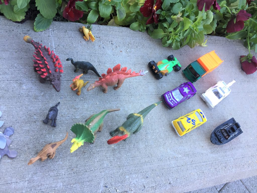 car and dinosaurs mirror embellishments