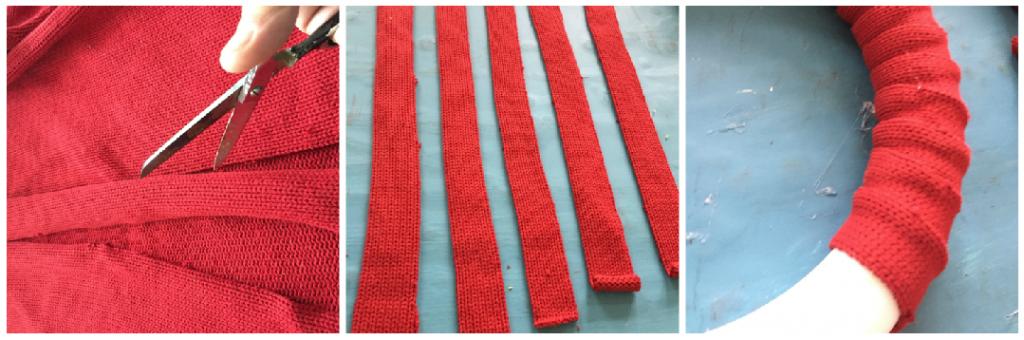 Cut red sweater