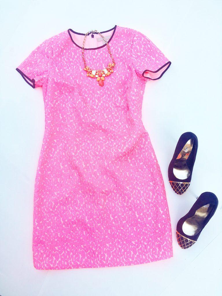 Neon Pink Animal Print dress by Banana Republic