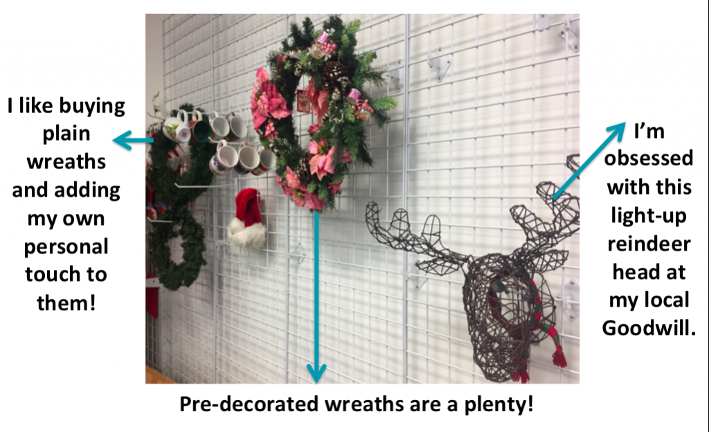 wreaths and reindeer docorations at Goodwill