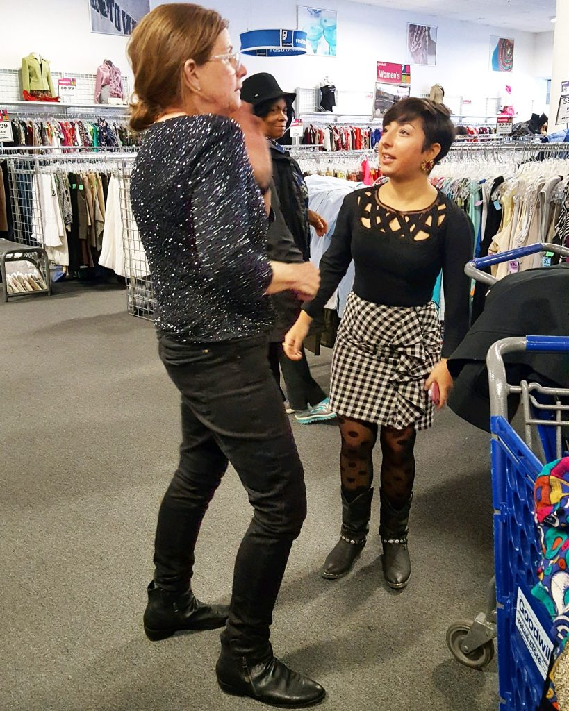 DCGF speaking with Goodwill shopper