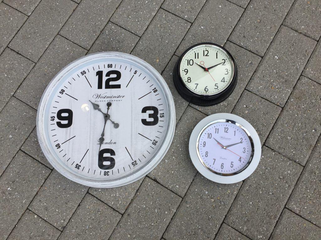 clocks from Goodwill