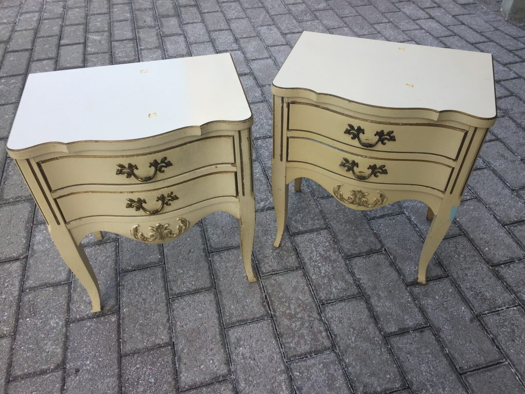 Goodwill blog side tables before outside