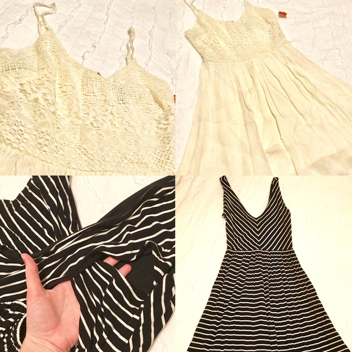 Forever 21 ivory sundress and black & white wrap-back LOFT dress from Goodwill