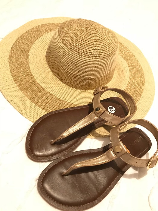 floppy hat and sandals from Goodwill