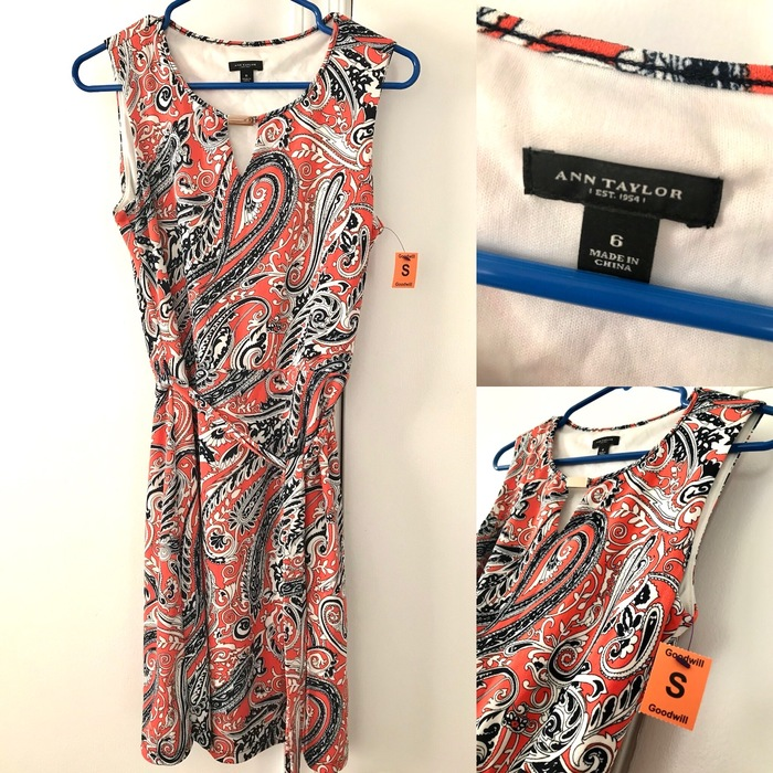 Ann Taylor orange paisley print dress found at Goodwill