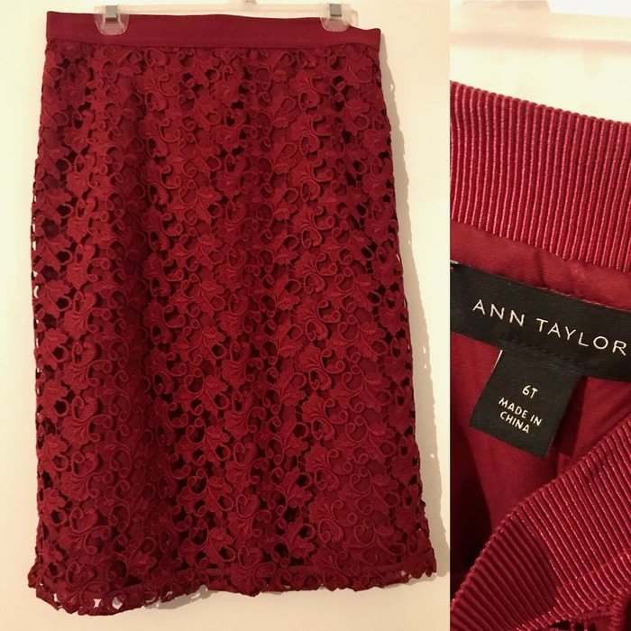 oxblood, lace Ann Taylor skirt found and Goodwill