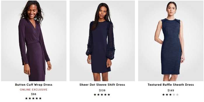 Screen grab of Ann Taylor online store prices