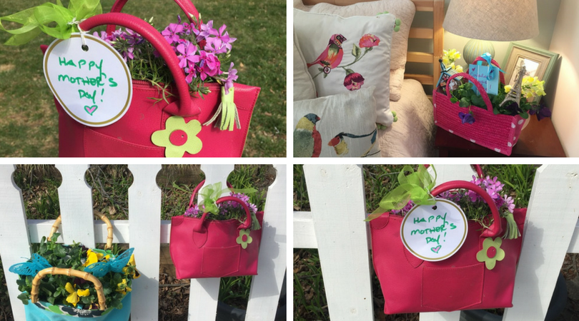 finished purse planters decorating a fence and bedroom