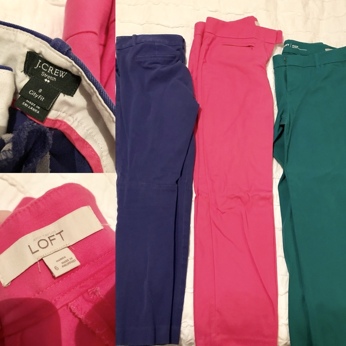 bold J. Crew and Loft pants from Goodwill