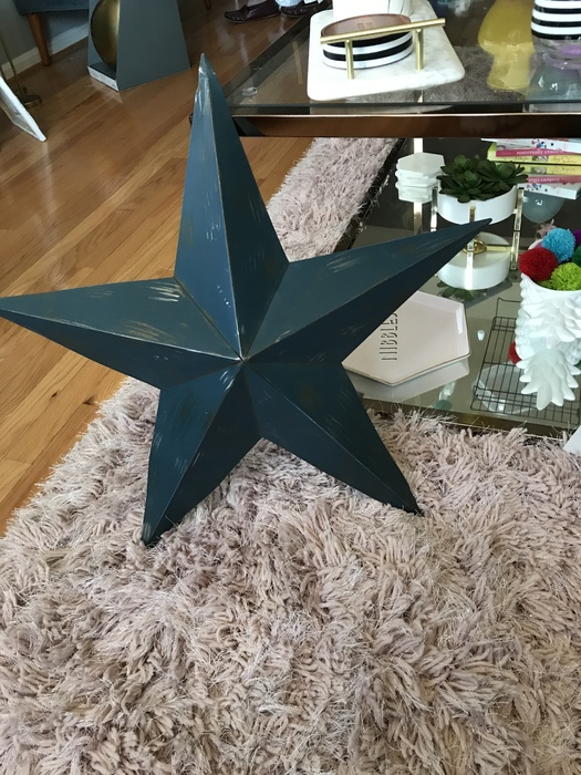 blue tin star found at Goodwill