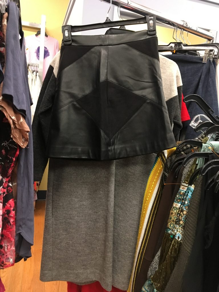 Carolyn spots a leather mini skirt while visiting Goodwill of Somerville, MA