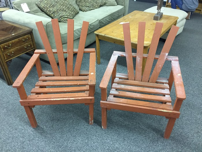 wooden patio chairs found at South Dakota Goodwill