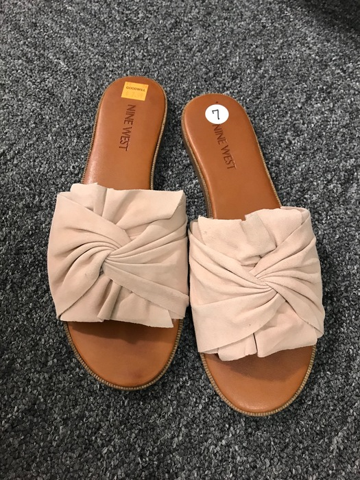 beige Nine West open-toed mules