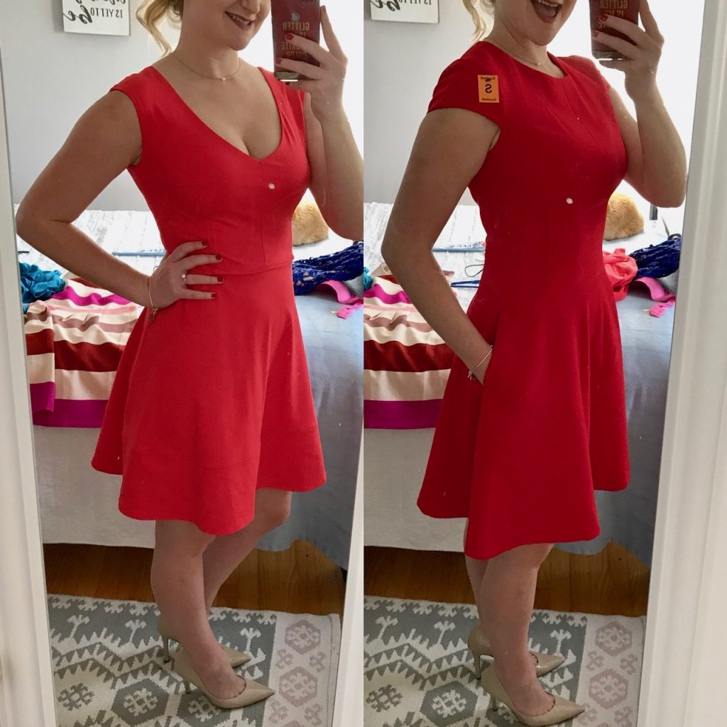 Karen wears a red dress by Eliza J and Cynthia Rowley found at Goodwill