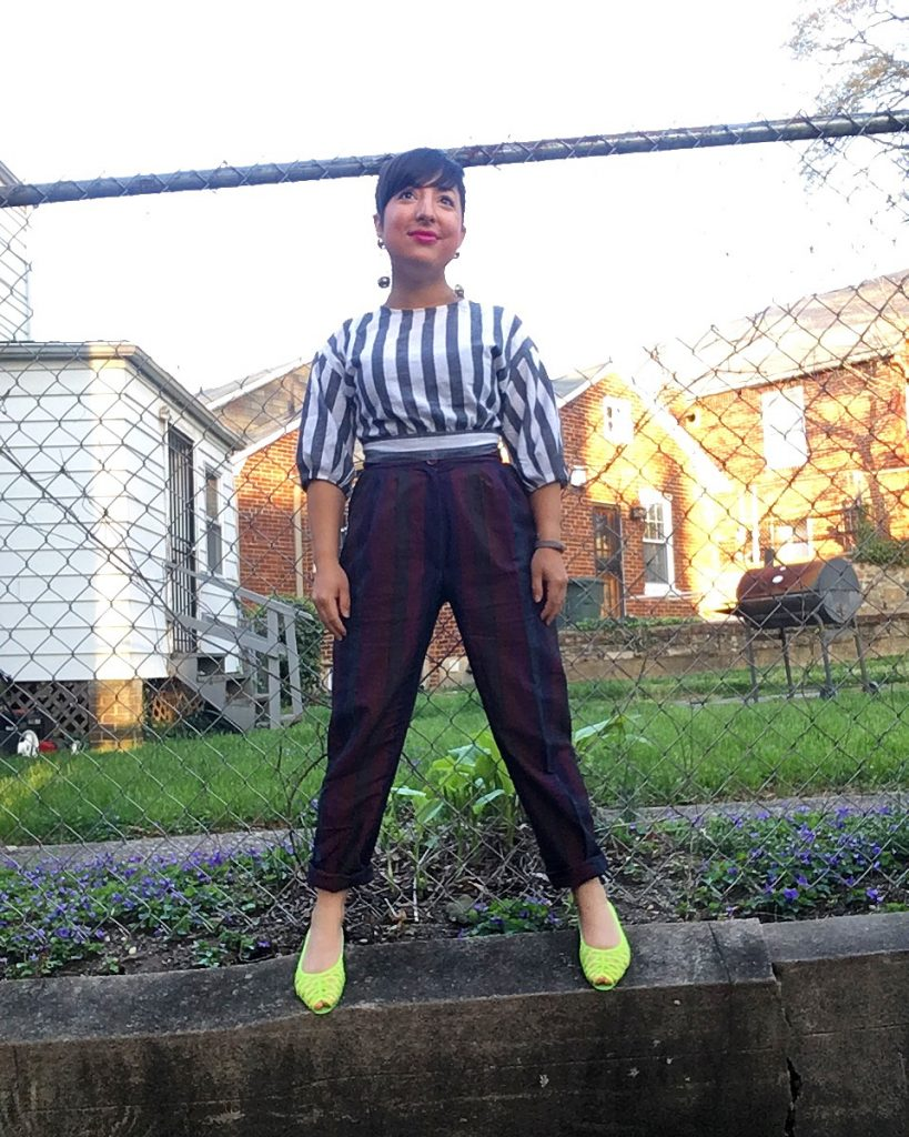Caroyln wearing Goodwil vintage stripe pants with stripe top