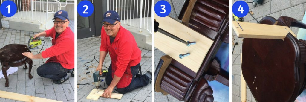 Tim crafts the chair back and attached it to the end table (chair seat)