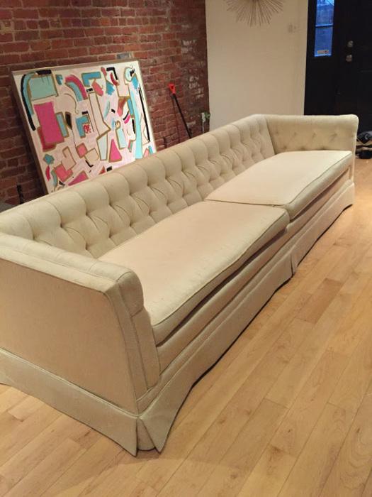 Ariel's silk tuxedo sofa
