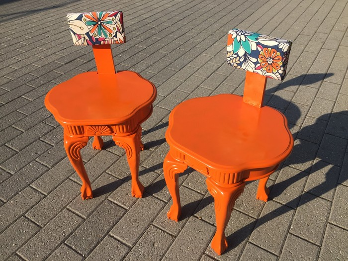 Funky Chairs Transformed from Forgotten End Tables