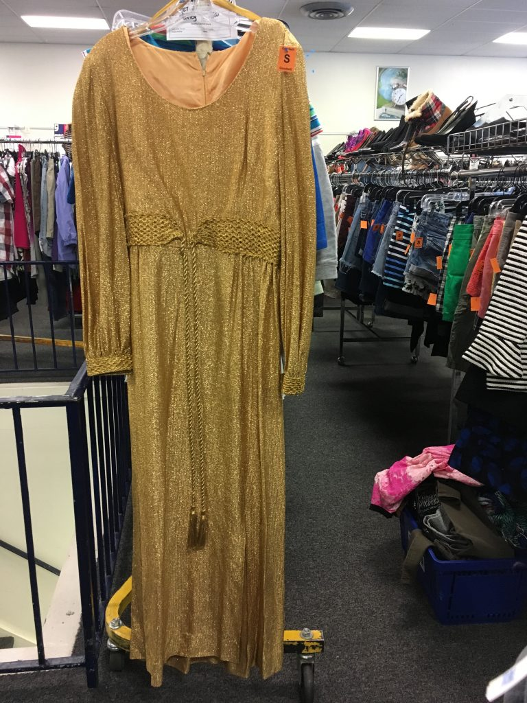 Lina's gold vintage dress found at Columbia Pike, Goodwill