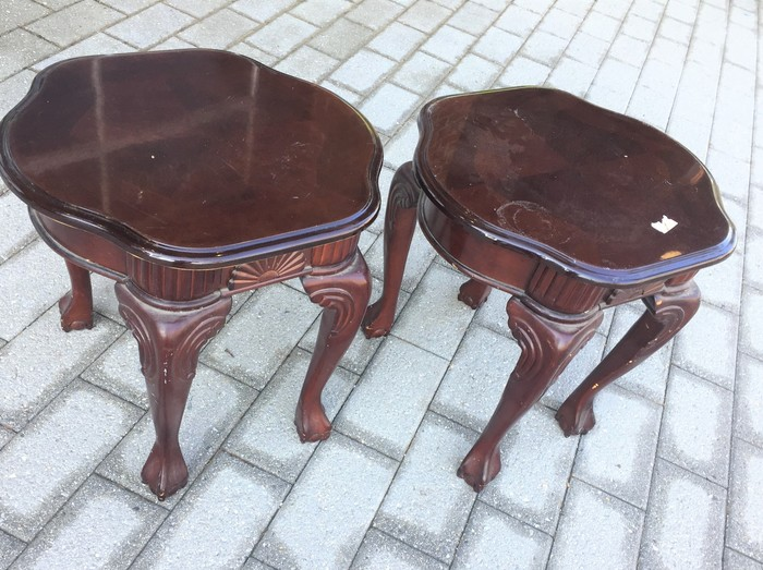 Tim Kime's matching side tables found at Goodwill