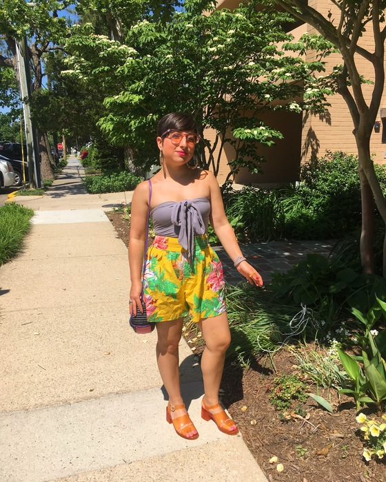 Carolyn's beach outfit consisting of patterned shorts found at Goodwill Gaithersburg