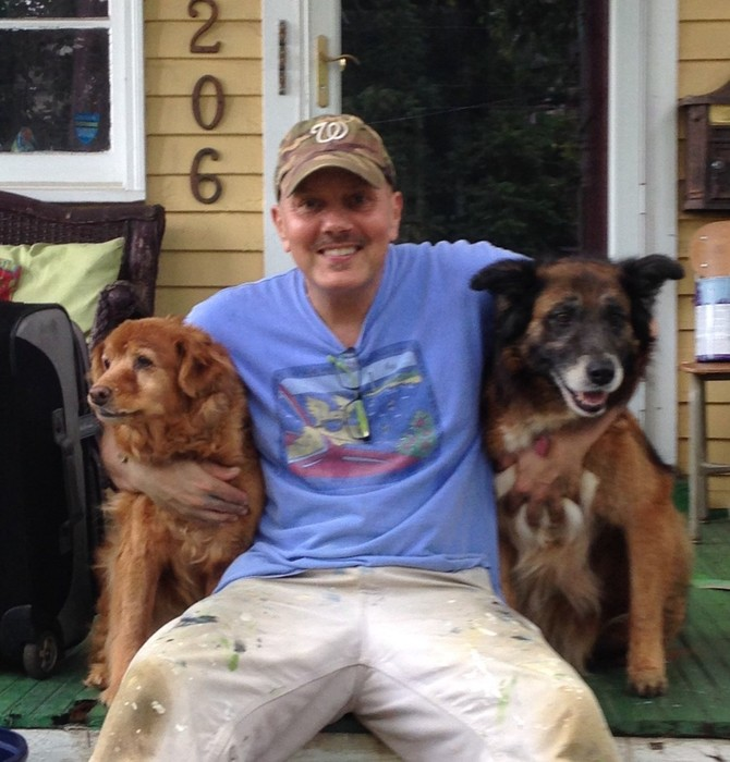 Tim and his recently departed pooches Morgan and Lilly