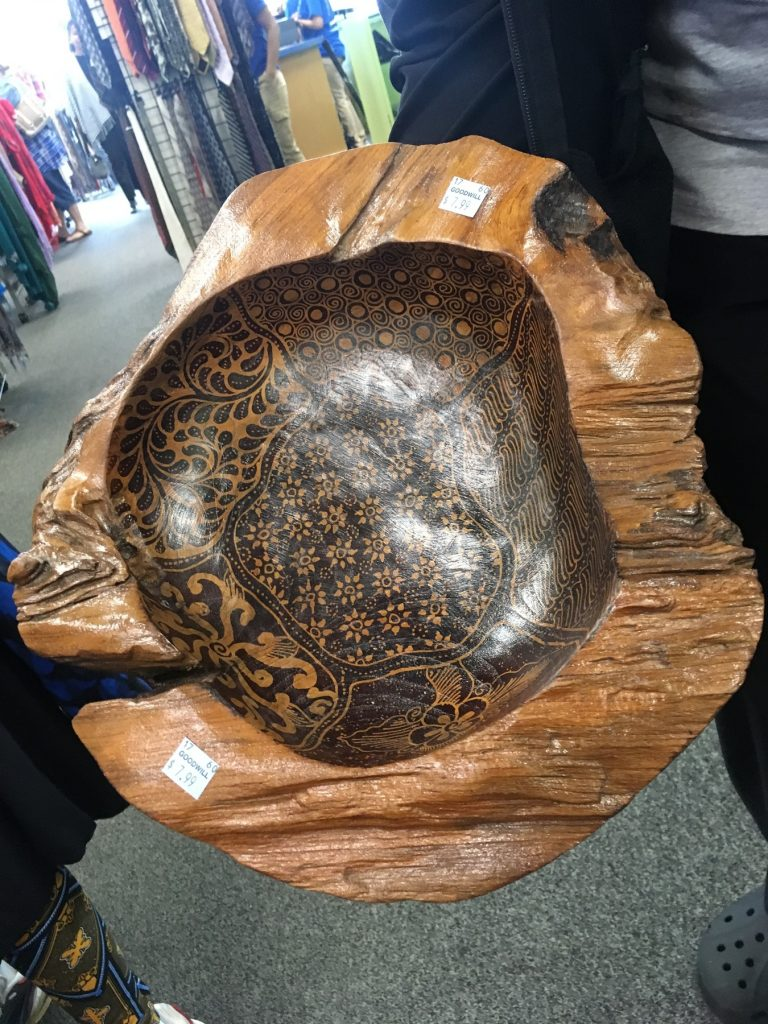 handmade wooden bowl found at Columbia Pike Goodwill during April Meetup