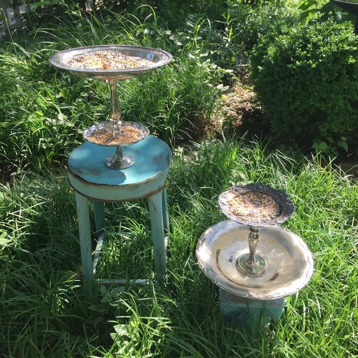 Tim's completed serving tray bird feeder and bird bath/bird feeder combo