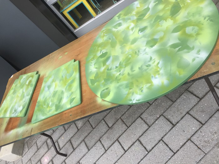 Tim's painted chair seats and table top