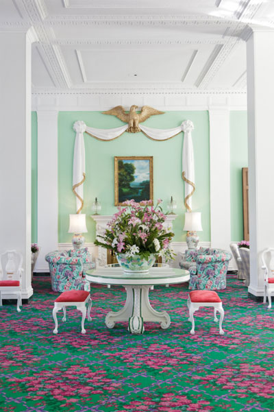 Dorothy Draper designed room at the Greenbrier Hotel