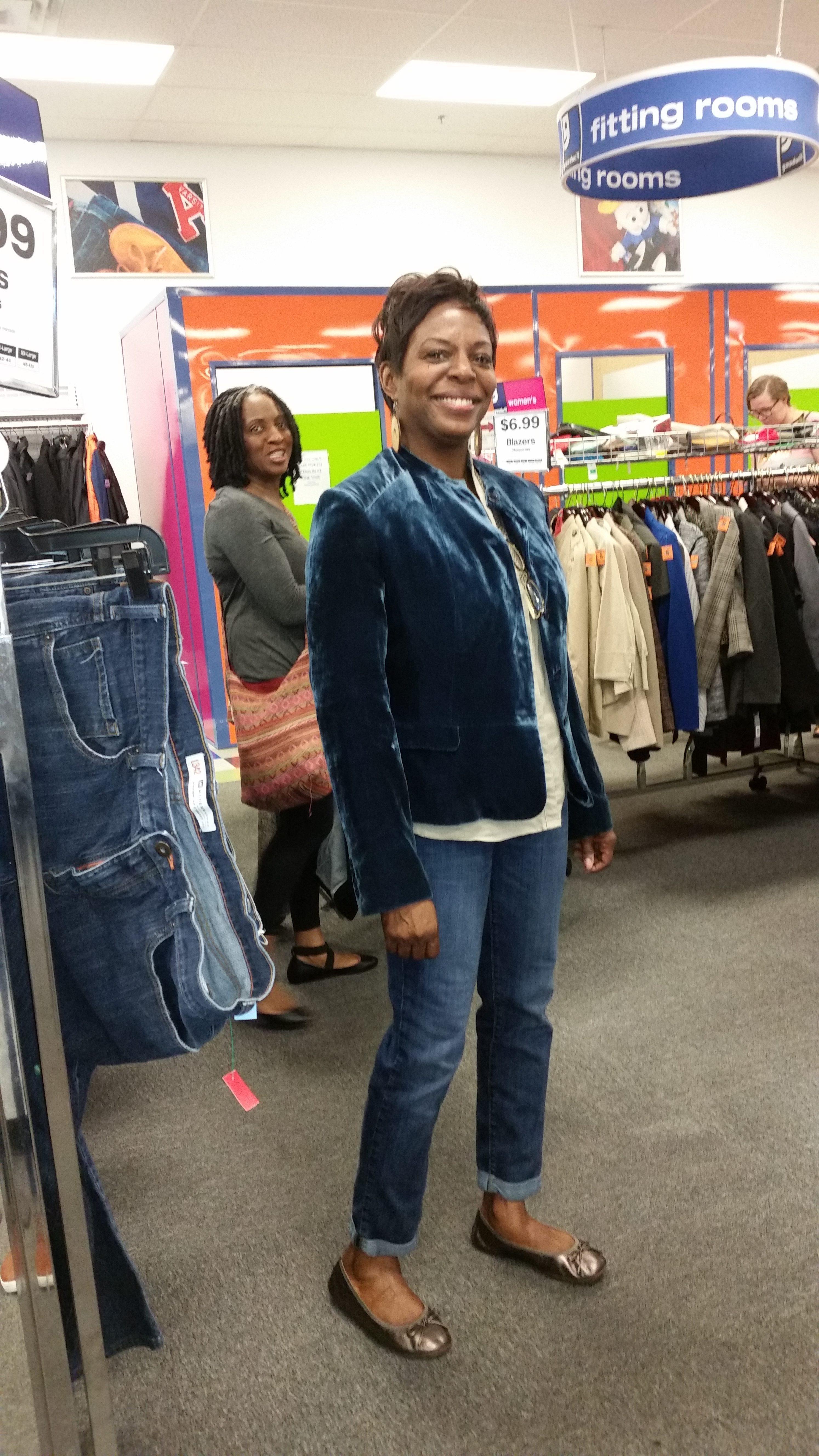 Meetup shopper poses in velvet blazer