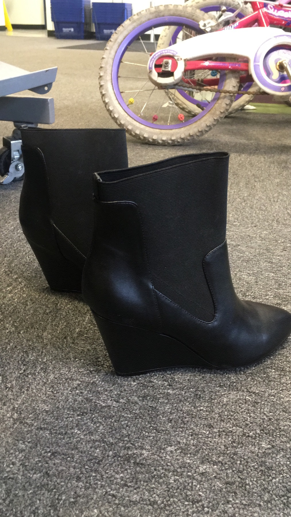 black wedge booties found at Kings Highway Goodwill
