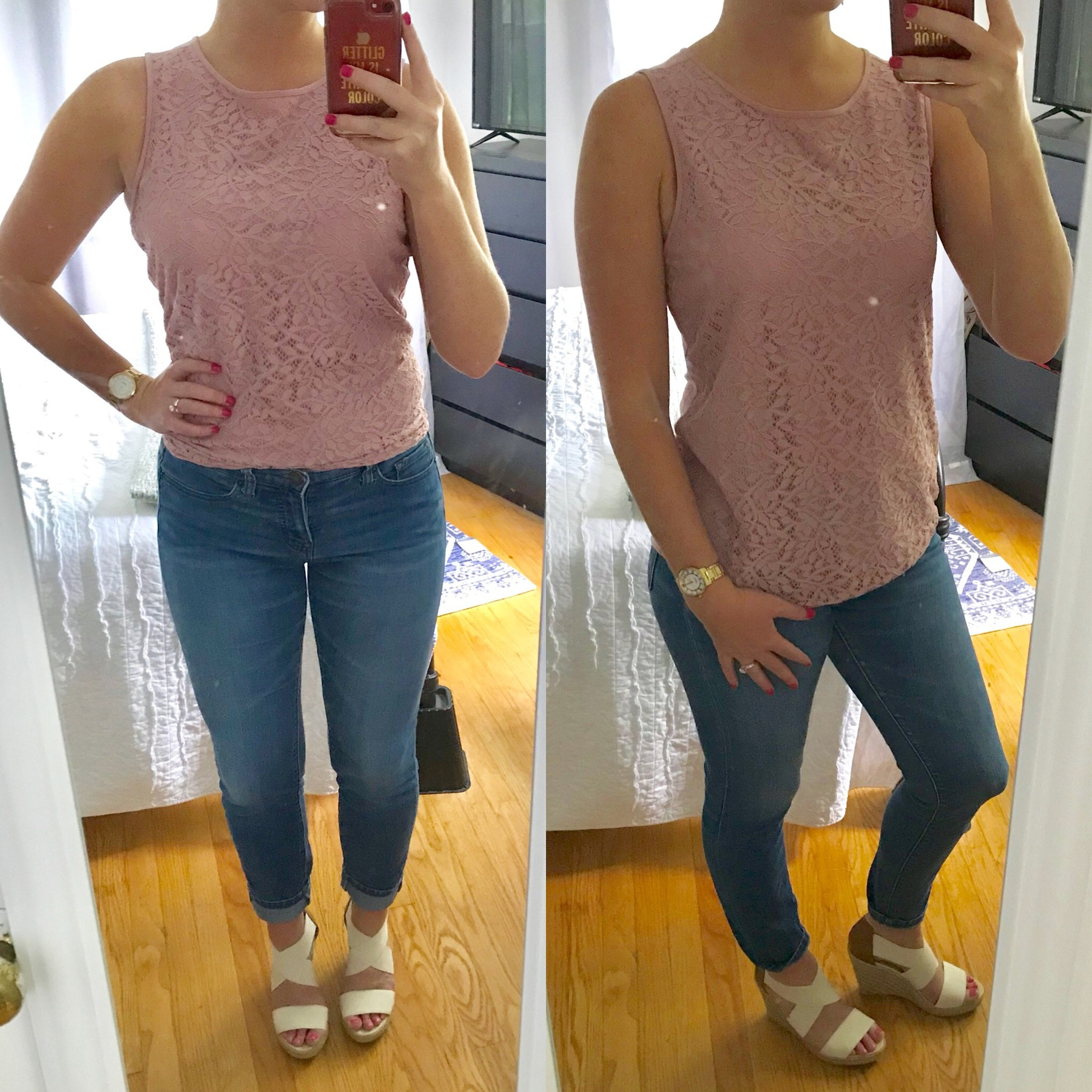 Karen's wears her lacy top and espadrilles with jeans