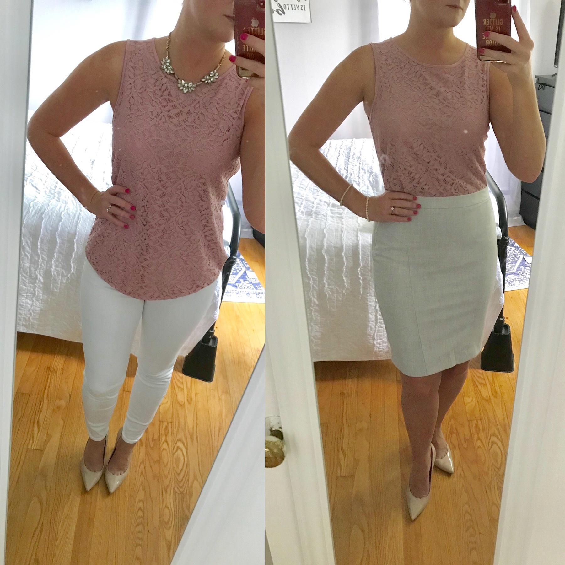 Karen pairs her lacy top with with slacks, a white skirt, and nude heels.