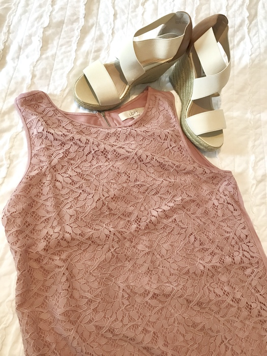 Karen pairs a lacy sleeveless blouse with nude espadrilles